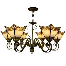 5 6 light vintage stained glass shade inverted chandelier in blue beige