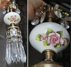 vintage capodimonte pink rose porcelain brass swag lamp chandelier french apartm 1 of 12only 1 available