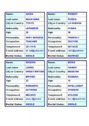 Personal Info Cards 20 Verb To Be Personal Information Cards For Oral Exam 5 Pages