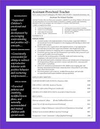 Preschool Teacher Resume Sample Endearing Sample Resume for assistant Teacher In Preschools About 46