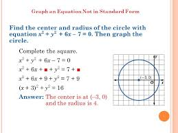 graph an equation not in standard form find the center and radius of the circle with