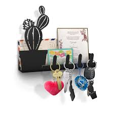 office key holder. Cactus Wall Key Holder, Mail Organizer, Decorative Rack, 4 Hooks, Metal Decor For Home And Office, Black- With Two Succulent Shaped Chains Office Holder F