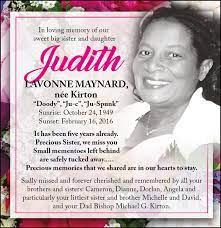 Judith Maynard née Kirton   In Memoriam   The Morehead News