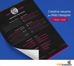 Free Creative Resume For Web Designer Psd Psd Print Template Cv