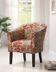 furniture red leaves fl pattern summer accent chairs matching pattern barrel back rest tappered wood legs modern living room furniture white