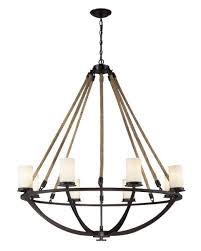 elk lighting natural rope 8 light chandelier