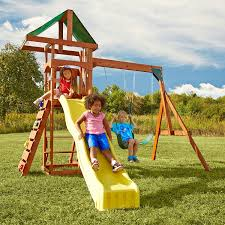 amazon com swing n slide scrambler playset with two swings slide