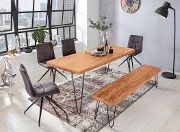 Esstisch BAGLI Massivholz Akazie 120 Cm Esszimmer Tisch Holztisch  Metallbeine Küchentisch Landhaus Dunkel Braun