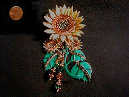 lunch at the ritz seeded sunflower brooch pendant bo 24k gold plated circa 1992 collectors weekly