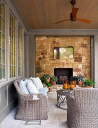 stone patio fireplace wall with tv view full size