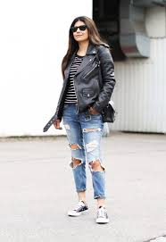 fashion landscape com ripped jeans stripes converse leather jacket