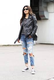 fashion landscape com ripped jeans stripes converse leather jacket