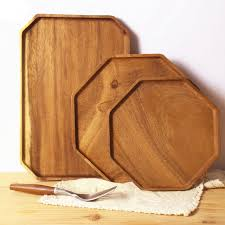 octagon acacia wood tray wooden food party serving tray dinner plate for cake bread rectangular fruit