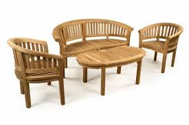 teak garden bench set with coffee table armchairs