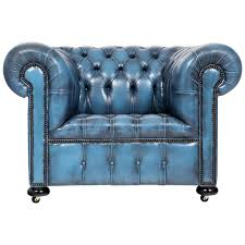 blue leather chair. Vintage Steel Blue Leather Chesterfield Club Chair For Sale N