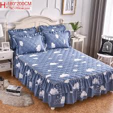 blue pink navy blue printed cotton single double bed skirt mattress cover petticoat twin full queen bed skirts bedspread bedding full bedskirt white king
