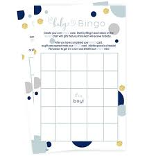 Navy And Gold Baby Shower Bingo Game Cards Boys Guest Activity Fill In Trivia Set Of 15 Abstract Party Ideas Ready To Play Fun