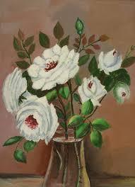 details about vintage folk art primitive botanical white roses green leaf water vase painting