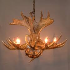 combination of moose antler deer antler chandelier