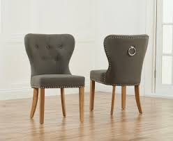 ring back dining chair pair of kalim grey linen chairs with chrome rings 13
