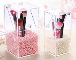 makeup brush holder beads. crystal clear makeup brush holder storage box with pearl beads u