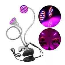 60w dual head led plant grow light desktop flexible gooseneck clip on clamp lamp