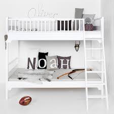 white wooden bunkbed