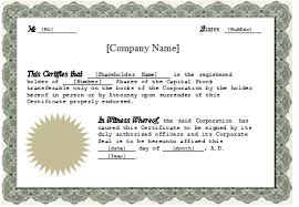 Stock Certificate Template At Wordexceltemplates Com