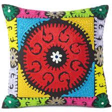 bold embroidered boho cushion cover