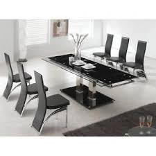 Large Black Lacquered Glass Dining Table Set .