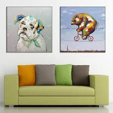 Paintings In Living Room New Hand Painted Oil Painting Abstract Animal Paintings Funny Dog