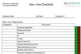 New Hire Forms Checklist Template New Employee Starter Checklist