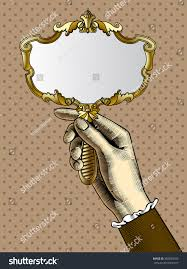 vintage mirror drawing. Woman\u0027s Hand With A Gold Retro Mirror. Vintage Stylized Drawing. Vector Illustration Mirror Drawing