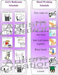 Printable Autism Pecs Visual Schedule Hygiene Routine For Kids Potty Training And Hand Washing Chart For Girls