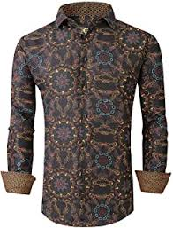 GRMO Men <b>Floral Print Long Sleeve</b> Fashion Western Button Down ...