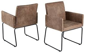 2 X Esszimmerstühle Beige Lederlook Armlehnstuhl Stuhlset Küche Modern Design