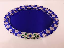 Indian Wedding Tray Decoration Indian Wedding TrayDiwali trayDecoration trayOval shapeBrocade 10