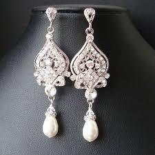 vintage bridal earrings chandelier wedding earrings art deco bridal jewelry pearl wedding jewelry jacqueline