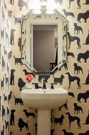 dog wallpaper for walls. Fine Dog Powder Room With Madison Humphrey Dog Flock Velvet Wallpaper In For Walls