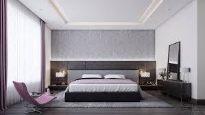 Purple Feature Wall Bedroom Gray And Wood Bedroom Simple Minimalist Look Rough Wooden