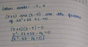 the quadratic equation whose roots are