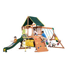 backyard discovery rockin adventure residential wood playset with swings