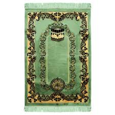 muslim prayer rug 4 x 2 6 green black and tan color flower design with