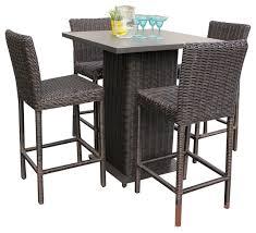 great high outdoor bistro set rustico pub table set with barstools 5 piece outdoor wicker patio