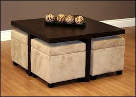 Coffee Table With 4 Ottoman Stools