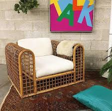 local pickup only vintage bamboo cage chair retro 1970s bohemian light brown square lounge chair or