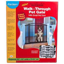 carlson pet gates carlson outdoor walk thru gate with small pet door
