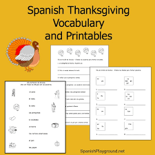 Spanish Thanksgiving Vocabulary List and Printable Activities ...