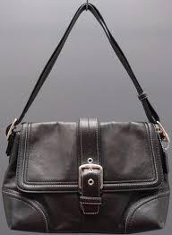 Coach F12606 Medium Black Leather Hampton Buckle Flap Shoulder Handbag Purse