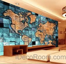 Small Picture 3D Blue Ocean Abstract World Map Wallpaper Wall Decals Wall Art